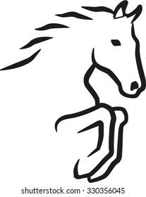 Jumping horse contour