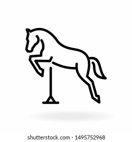 Jumping horse outline icon. Equestrian sport symbol.