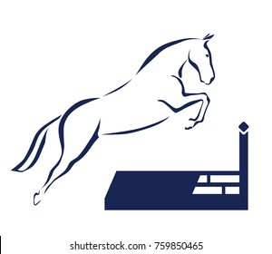 Jumping horse over the fence outline drawing. vector illustration