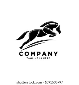 jumping horse part style logo