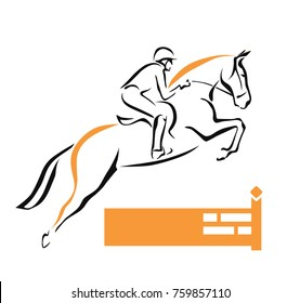Jumping horse with rider over the fence outline drawing. vector illustration