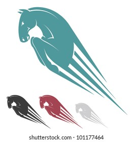 Jumping horse symbol - vector illustration