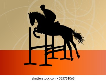 Jumping horses with jockey equestrian sport vector background concept