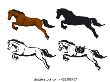 Jumping Horses Set in color, contour and silhouette