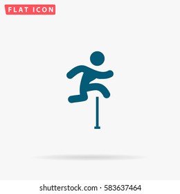 Jumping Icon Vector. Flat simple Blue pictogram on white background. Illustration symbol with shadow
