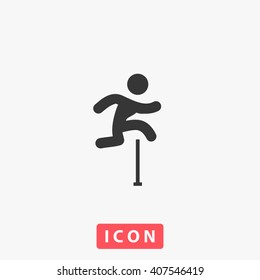 jumping Icon Vector. Simple flat symbol. Illustration pictogram