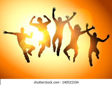 Jumping Into The Sun. People jumping  - vector illustration.
