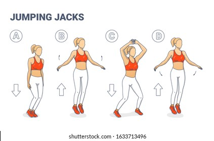 Jumping Jacks Exercise Girl Workout  Silhouettes. Star Jumps illustration - a young woman in sportswear (white leggings, lush lava top and sneakers) does the side-straddle hop sequentially. Clipart.