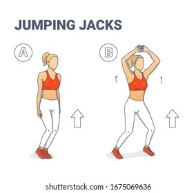 Jumping Jacks Exercise Girl Workout Silhouettes. Star Jumps illustration - a young woman in sportswear (white leggings, lush lava top and sneakers) does the side-straddle hop sequentially.