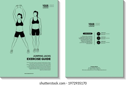 Jumping Jacks, Illustrated Exercise Guide, Outline Sport clipart Concept. Book cover design vector template in A4 size.