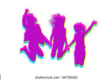 Jumping joyful girls. Vector
