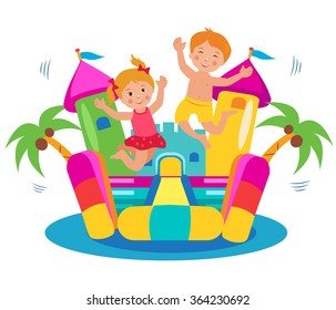 Jumping Kids And Bouncy Castle Vector Set. Cartoon Illustrations On A White Background. Bouncy Castle and Kids.