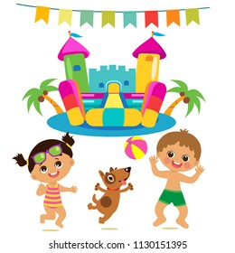 Jumping Kids And Dog And Bouncy Castle Vector Set. Cartoon Illustrations On A White Background. Bouncy Castle and funny Boy and Girl on the beach. Summer Vacations vector set.