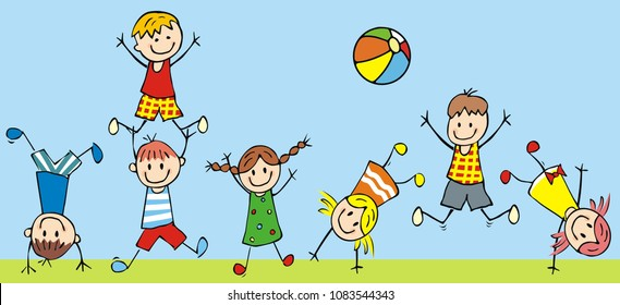 Sport Wallpaper Kids: Playing Kids Clipart Images, Stock Photos & Vectors