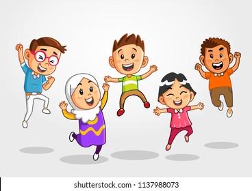 Jumping Kids, Jumping School Kids.