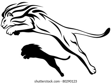 jumping lion vector illustration - outline and silhouette