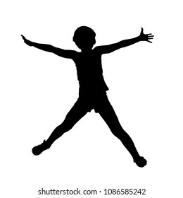 Jumping little girl silhouette with hands to the side