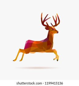 Jumping low poly deer in autumn colors
