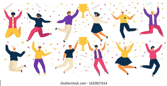 Jumping people, happy carton characters, award winner vector illustration. Men and women celebrating victory in competition, cheerful people jump with trophy award. Contest winner celebration party.