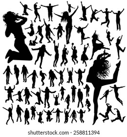 Jumping people silhouettes