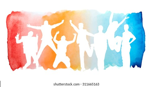 Jumping people silhouettes in watercolor rainbow splatter background