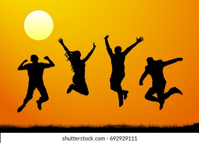 Jumping people at sunset, vector silhouette