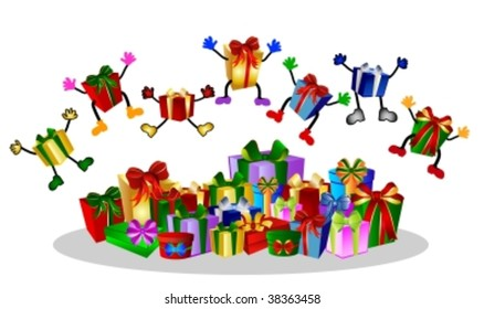 jumping presents and colorful gift boxes