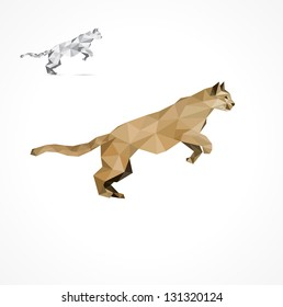 Jumping Puma, stylized triangle polygon model