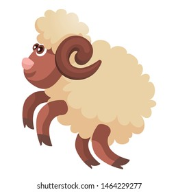 Jumping ram icon. Cartoon of jumping ram vector icon for web design isolated on white background