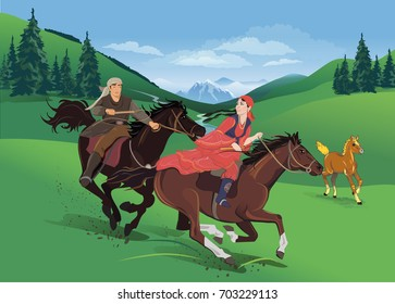 The jumping riders on horses. Vector illustration.