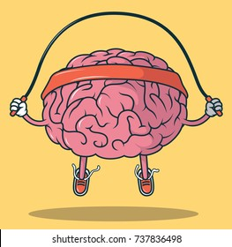 Jumping Rope Brain illustration. Mental Sports vector concept