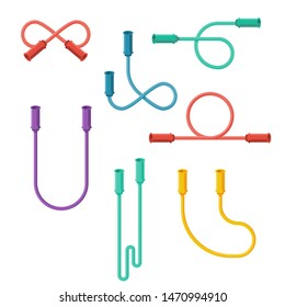 Jumping rope flat icon. Collection of colored rubber sports elements. Skipping sport fitness symbol. Training exercise. Vector illustration flat design. Isolated on white background.
