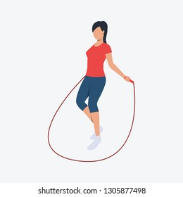 Jumping rope flat icon. Sporty woman, girl, warmup. Fitness concept. Can be used for topics like cardio training, gym, fitness club