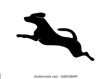 Jumping running dog silhouette isolated on white background. Vector illustration