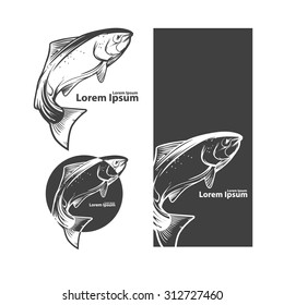 jumping salmon fish, for label, design elements ant templates, retro style