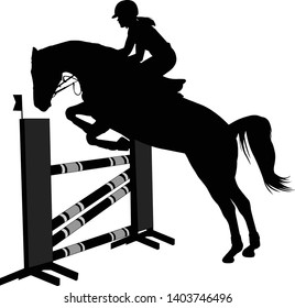 jumping show. horse with jockey jumping a hurdle silhouette - vector