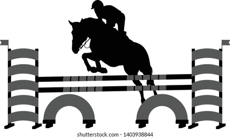 jumping show. horse with jockey jumping a hurdle silhouette