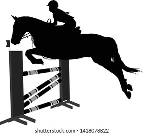 jumping show.equestrian sport  horse with jockey jumping a hurdle silhouette - vector