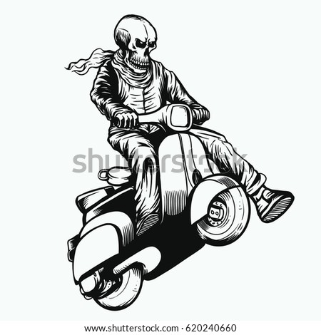 Jumping Skull Scooter Rider Black White Stock Vector Royalty Free