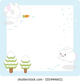 Jumping snow bunnies with carrot and fir trees, middle left blank for own text (vector cartoon template)