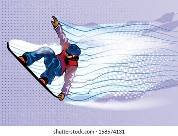Jumping snowboarder. Motion in air. Vector illustration