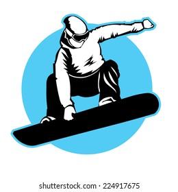 Jumping snowboarder. Vector sign branding identity corporate logo.