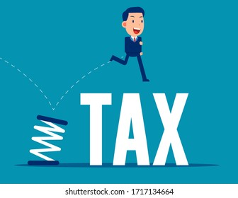 Jumping from spring. Business tax concept. Flat business vector style