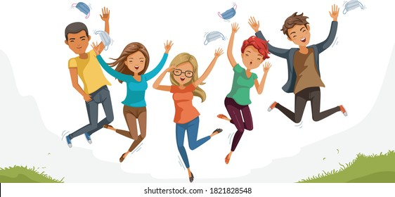 Jumping student. Teenagers jumping happiness together. freedom of feeling. Gestures very happy. Cheers! remove midical mask. Concept the end of COVID-19. Successful treatment. Vaccine against COVID-19