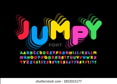 Jumping style font, alphabet letters and numbers vector illustration