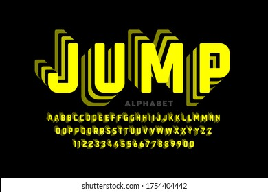 Jumping style font design, alphabet letters and numbers vector illustration