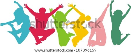 jumping summer people healthly young people stock vector royalty
