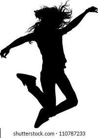 jumping teen girl isolated silhouette .