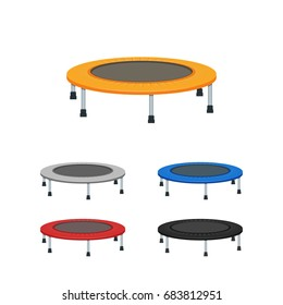 Jumping trampoline vector flat realistic icon. Isolated trampoline set for children and adults for fun indoor or outdoor fitness jumping