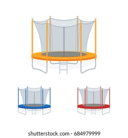 Jumping trampoline vector flat realistic icon. Isolated safe trampolines set with net for children for fun indoor or outdoor sport fitness jumping